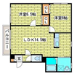 エバーグリーン平岡[4階]の間取り
