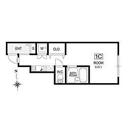 東急大井町線 尾山台駅 徒歩16分の賃貸アパート 1階ワンルームの間取り