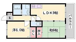 JR播但線 野里駅 徒歩24分の賃貸マンション 1階2LDKの間取り