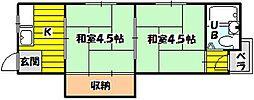 上山マンション[202号室]の間取り