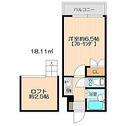 モーリックス飯塚[208号室]の間取り