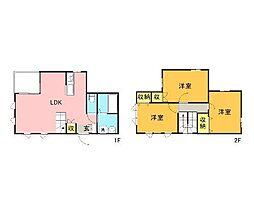 西鉄天神大牟田線 八丁牟田駅 徒歩7分の賃貸一戸建て 1階3LDKの間取り