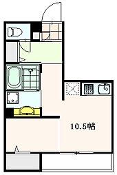 JR中央線 三鷹駅 徒歩10分の賃貸アパート 3階ワンルームの間取り