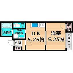 京阪本線 千林駅 徒歩6分の賃貸マンション 4階1DKの間取り