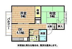 福岡県北九州市小倉北区黒原2丁目の賃貸アパートの間取り