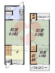 堺市東区西野貸家 1階2LDKの間取り
