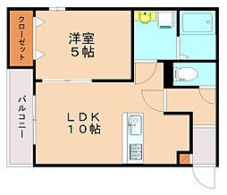 メゾンクレール竹下駅前弐番館 2階1LDKの間取り