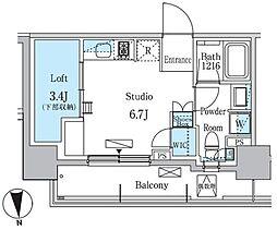 東急東横線 学芸大学駅 徒歩11分の賃貸マンション 8階ワンルームの間取り