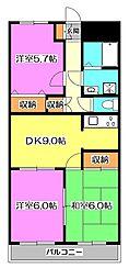東京都東久留米市柳窪2丁目の賃貸マンションの間取り