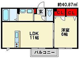 福岡県大野城市畑ケ坂2丁目の賃貸アパートの間取り