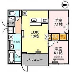 仮)D-room吹田市江の木町AY 2階2LDKの間取り