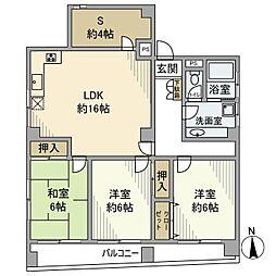 カーサ田中 5階3SLDKの間取り