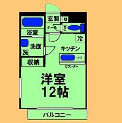 JR横浜線 八王子みなみ野駅 徒歩10分の賃貸マンション 1階ワンルームの間取り