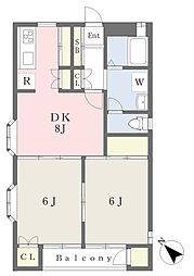 サン・リバー川越II 2階2DKの間取り