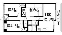 兵庫県宝塚市安倉南4丁目の賃貸マンションの間取り