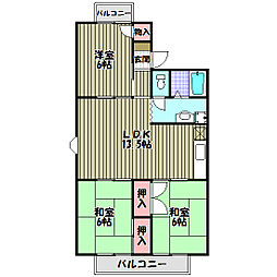 大阪府富田林市小金台1丁目の賃貸アパートの間取り