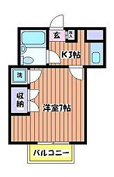 東京都日野市大坂上3丁目の賃貸アパートの間取り