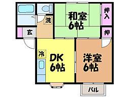 愛媛県松山市余戸東4丁目の賃貸アパートの間取り