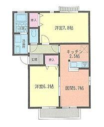 神奈川県平塚市豊田宮下の賃貸アパートの間取り