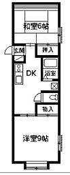 峰ハイツ[1階]の間取り