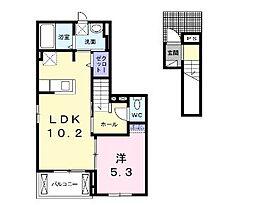 広島県福山市沖野上町2丁目の賃貸アパートの間取り