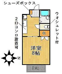 愛知県名古屋市千種区川崎町1丁目の賃貸アパートの間取り