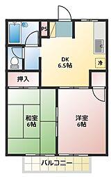シティハイツ三沢[2階]の間取り