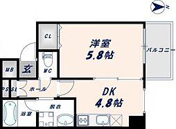ブリエ東大阪[8階]の間取り