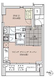 イグレクス(最上階、角住戸、両隣に部屋なし)[901号室]の間取り