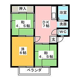 フラワーハイツ B棟[1階]の間取り