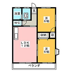 リバーサイドpearl 1[2階]の間取り
