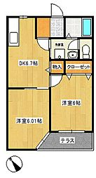シャトーフローラルN-3[1階]の間取り