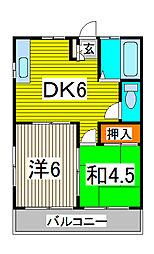 石川コーポ[1階]の間取り