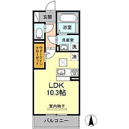 岡山電気軌道清輝橋線 清輝橋駅 徒歩34分の賃貸アパート 1階ワンルームの間取り