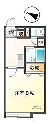 愛知県日進市米野木町南山の賃貸アパートの間取り