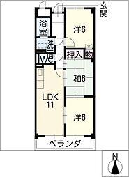 ユートピア東新[6階]の間取り