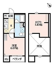 大阪府堺市西区鳳西町2丁の賃貸アパートの間取り