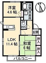 香川県高松市春日町の賃貸アパートの間取り