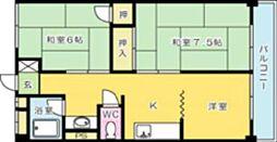 オアシス三萩野[502号室]の間取り