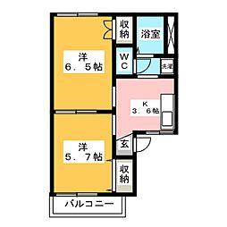 レジデンスミドリA[2階]の間取り