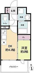 福岡市地下鉄空港線 大濠公園駅 徒歩2分の賃貸マンション 3階1DKの間取り
