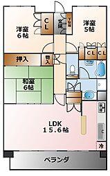甲子園六石町ハイツ[2階]の間取り