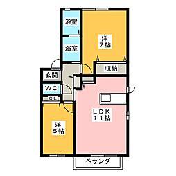 ガーデンコート出川B棟[2階]の間取り