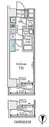 東京メトロ東西線 東陽町駅 徒歩6分の賃貸マンション 8階1Kの間取り