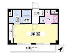 東急東横線 祐天寺駅 徒歩17分の賃貸マンション 3階1Kの間取り