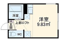 小田急小田原線 小田急相模原駅 徒歩17分の賃貸アパート 1階ワンルームの間取り