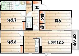セトル嵐 A棟[1階]の間取り