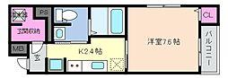阪神本線 青木駅 徒歩10分の賃貸マンション 4階1Kの間取り