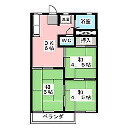 タウニィ鶴正D棟[2階]の間取り