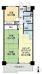 岡山県岡山市北区西市の賃貸マンションの間取り